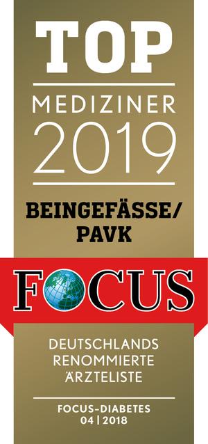 FOCUS TOP Mediziner 2019 Beingefäße/ PAVK
