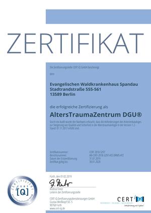 Zertifiziertes AltersTraumaZentrum