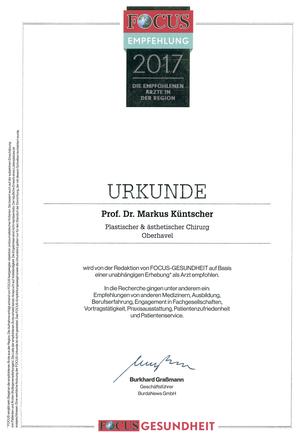 FOCUS Empfohlener Arzt in der Region 2017