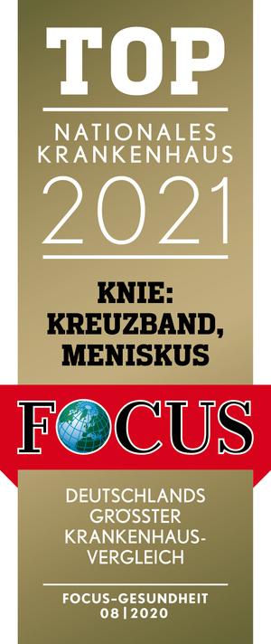 Focus Top Nationales Krankenhaus 2021 -  Knie: Kreuzband/Meniskus