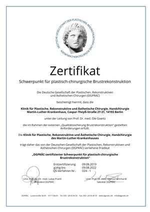 Zertifizierter Schwerpunkt für plastisch-chirurgische Brustrekonstruktion