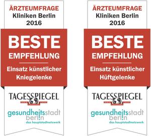 Kliniken Berlin 2016: Beste Empfehlung bei Einsatz künstlicher Knie- und Hüftgelenke