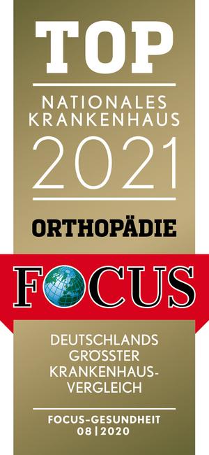 Zertifikat: Top Nationales Krankenhaus Orthopädie