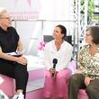 """Podiumsdiskussion zum Thema """"Brustkrebs, selbst betroffen oder familiär belastet: Kommunikation und psychische Aspekte."""" mit Dr. Dr. Verena Reichert und Angela Tietz, moderiert von Bärbel Schäfer"""